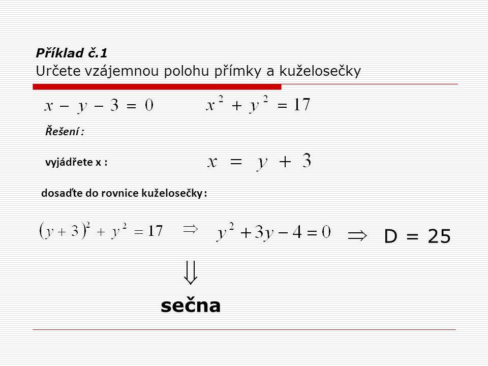 Příklad č.2 Určete vzájemnou polohu přímky a kuželosečky, v případě sečny určete délku tětivy, v případě tečny, bod dotyku vyjádřete y 2 řešení 2 společné body : délka tětivy : sečna Řešení :