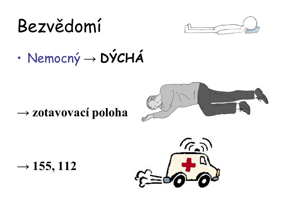 Bezvědomí Nemocný → DÝCHÁ → zotavovací poloha → 155, 112