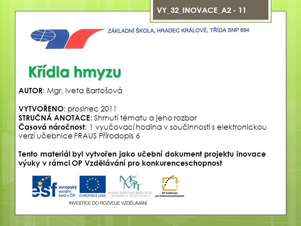 VY_32_INOVACE_A2 - 11 Křídla hmyzu AUTOR : Mgr.