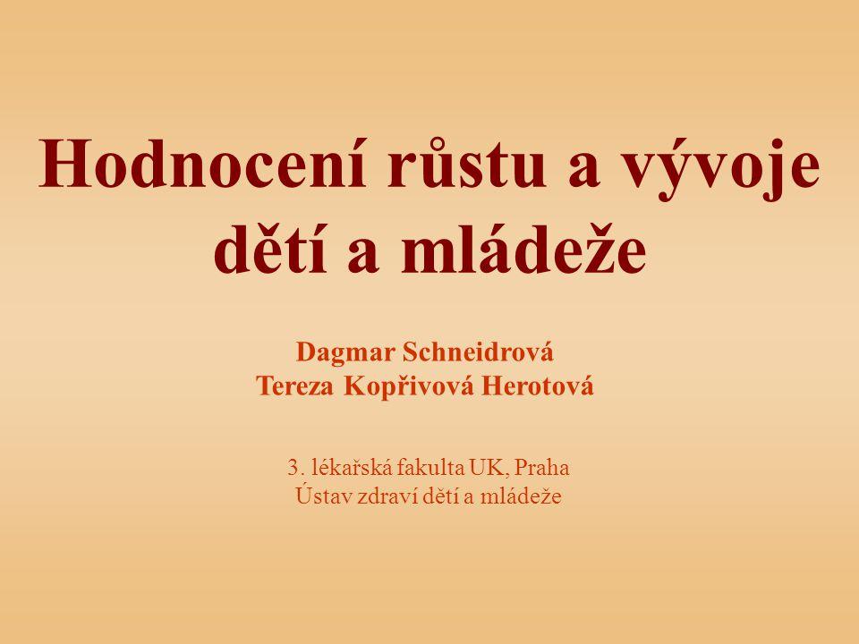 Hodnocení růstu a vývoje dětí a mládeže Dagmar Schneidrová Tereza Kopřivová Herotová 3.