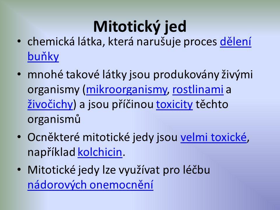 Mitotický jed chemická látka, která narušuje proces dělení buňkydělení buňky mnohé takové látky jsou produkovány živými organismy (mikroorganismy, rostlinami a živočichy) a jsou příčinou toxicity těchto organismůmikroorganismyrostlinami živočichytoxicity Ocněkteré mitotické jedy jsou velmi toxické, například kolchicin.velmi toxickékolchicin Mitotické jedy lze využívat pro léčbu nádorových onemocnění nádorových onemocnění