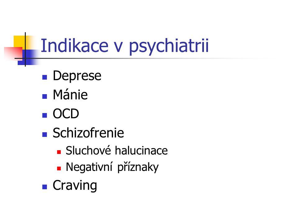 Indikace v psychiatrii Deprese Mánie OCD Schizofrenie Sluchové halucinace Negativní příznaky Craving