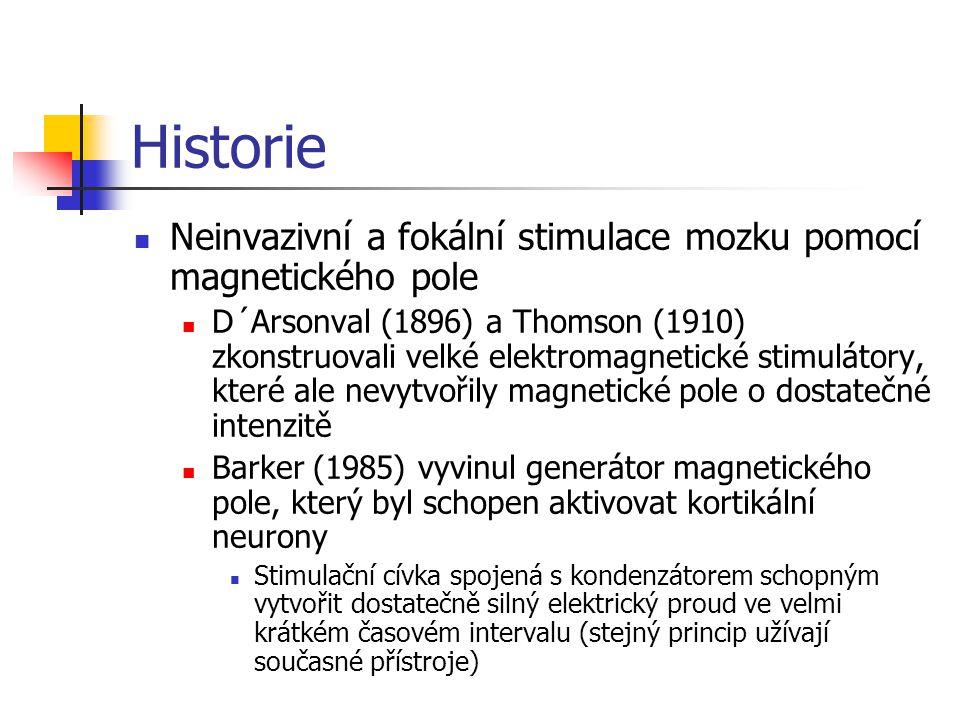 Historie Neinvazivní a fokální stimulace mozku pomocí magnetického pole D´Arsonval (1896) a Thomson (1910) zkonstruovali velké elektromagnetické stimu