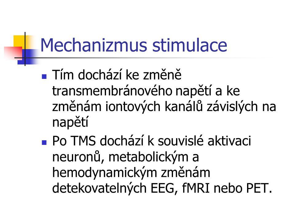 Mechanizmus stimulace Tím dochází ke změně transmembránového napětí a ke změnám iontových kanálů závislých na napětí Po TMS dochází k souvislé aktivac