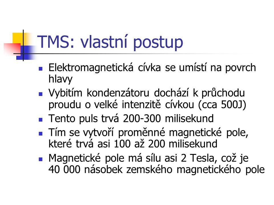 TMS: vlastní postup Elektromagnetická cívka se umístí na povrch hlavy Vybitím kondenzátoru dochází k průchodu proudu o velké intenzitě cívkou (cca 500