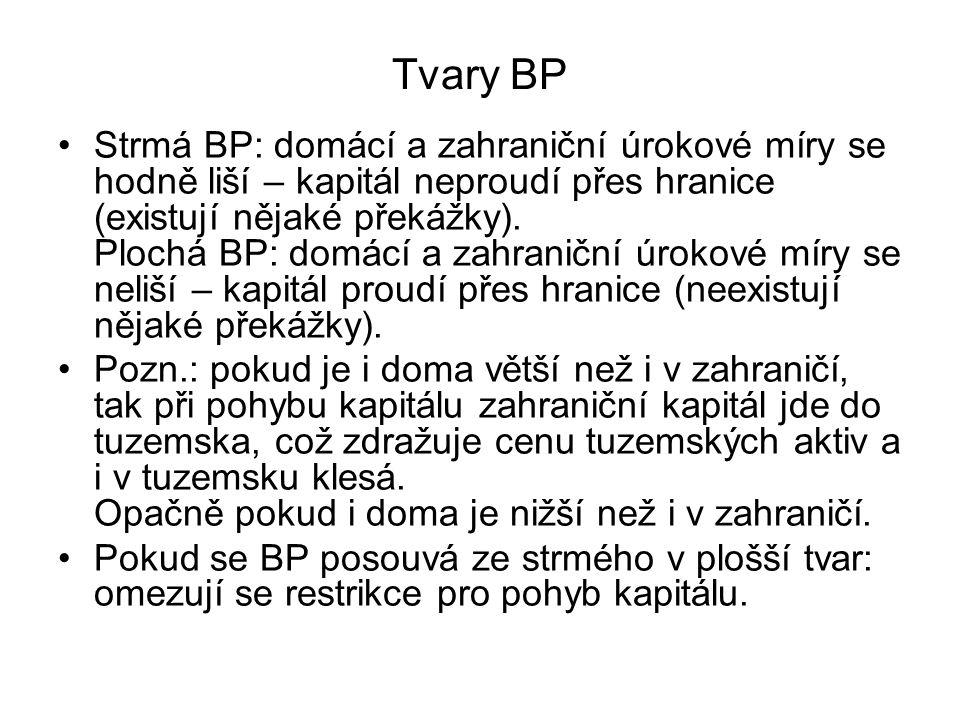 Tvary BP Strmá BP: domácí a zahraniční úrokové míry se hodně liší – kapitál neproudí přes hranice (existují nějaké překážky). Plochá BP: domácí a zahr