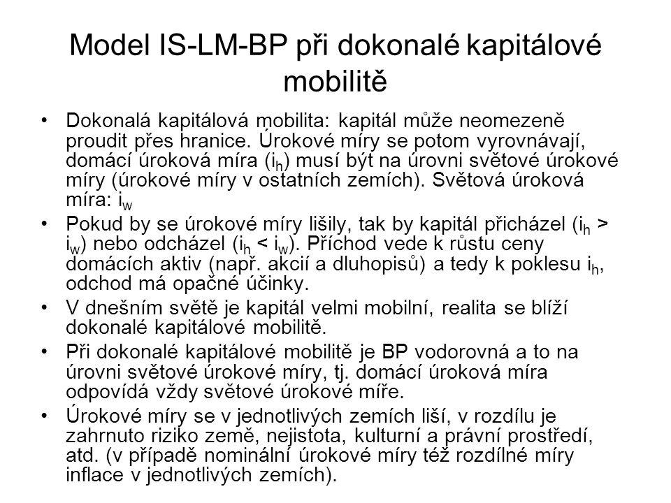 Model IS-LM-BP při dokonalé kapitálové mobilitě Dokonalá kapitálová mobilita: kapitál může neomezeně proudit přes hranice. Úrokové míry se potom vyrov