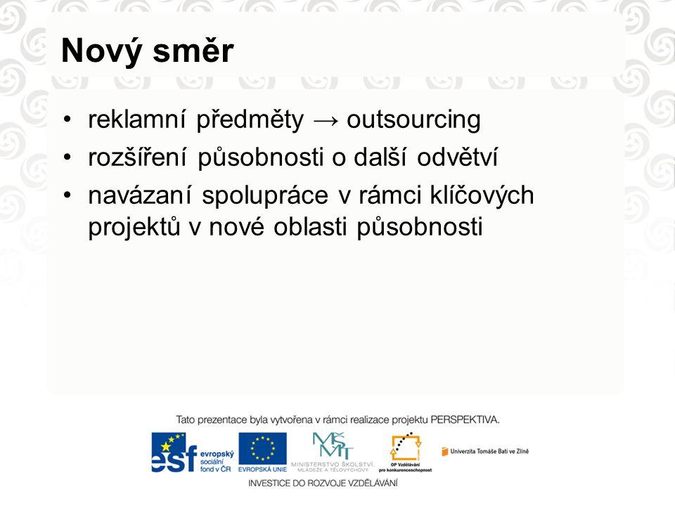 Nový směr reklamní předměty → outsourcing rozšíření působnosti o další odvětví navázaní spolupráce v rámci klíčových projektů v nové oblasti působnosti