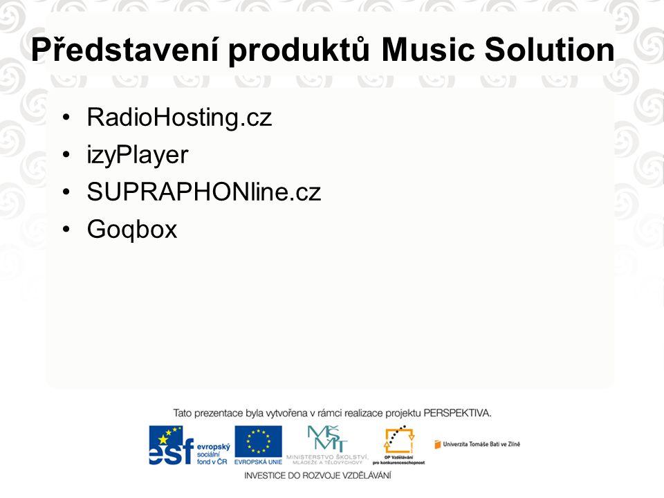 Představení produktů Music Solution RadioHosting.cz izyPlayer SUPRAPHONline.cz Goqbox