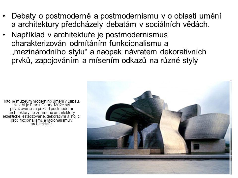 Debaty o postmoderně a postmodernismu v o oblasti umění a architektury předcházely debatám v sociálních vědách. Například v architektuře je postmodern