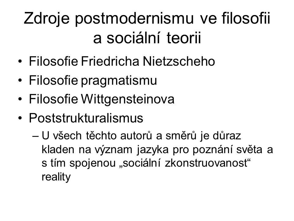 Zdroje postmodernismu ve filosofii a sociální teorii Filosofie Friedricha Nietzscheho Filosofie pragmatismu Filosofie Wittgensteinova Poststrukturalis