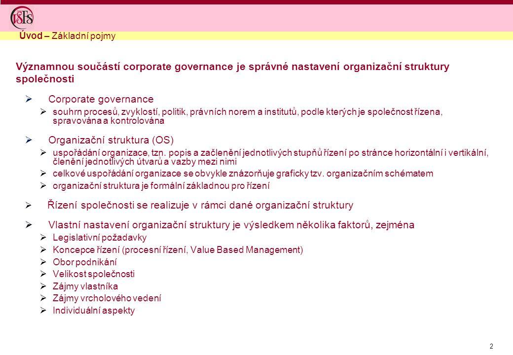 2 Významnou součástí corporate governance je správné nastavení organizační struktury společnosti  Corporate governance  souhrn procesů, zvyklostí, p