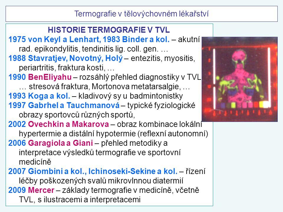 Termografie v tělovýchovném lékařství HISTORIE TERMOGRAFIE V TVL 1975 von Keyl a Lenhart, 1983 Binder a kol. – akutní rad. epikondylitis, tendinitis l
