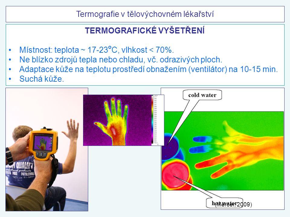 TERMOGRAFICKÉ VYŠETŘENÍ Místnost: teplota ~ 17-23 o C, vlhkost < 70%. Ne blízko zdrojů tepla nebo chladu, vč. odrazivých ploch. Adaptace kůže na teplo