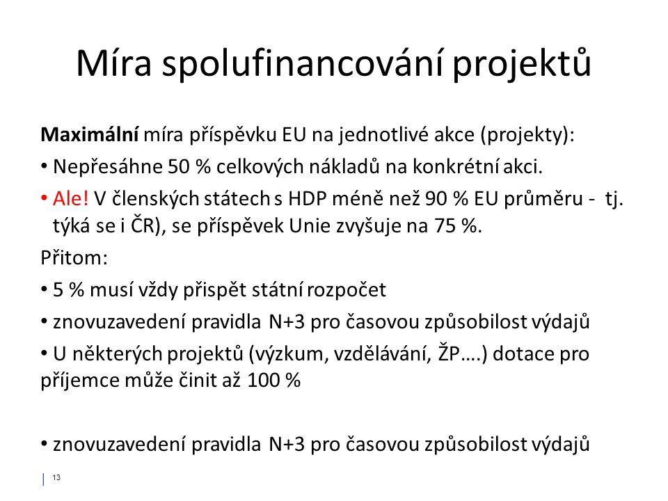 Míra spolufinancování projektů Maximální míra příspěvku EU na jednotlivé akce (projekty): Nepřesáhne 50 % celkových nákladů na konkrétní akci. Ale! V