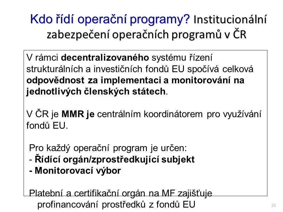 20 Kdo řídí operační programy? Institucionální zabezpečení operačních programů v ČR Kdo řídí operační programy? Institucionální zabezpečení operačních