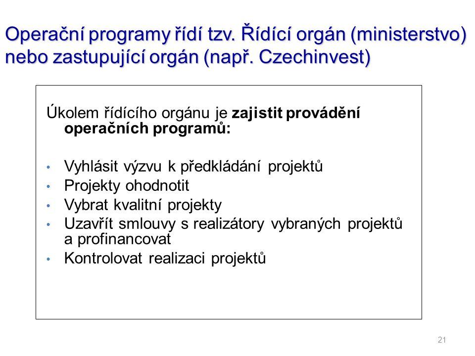 21 Operační programy řídí tzv. Řídící orgán (ministerstvo) nebo zastupující orgán (např. Czechinvest) Úkolem řídícího orgánu je zajistit provádění ope