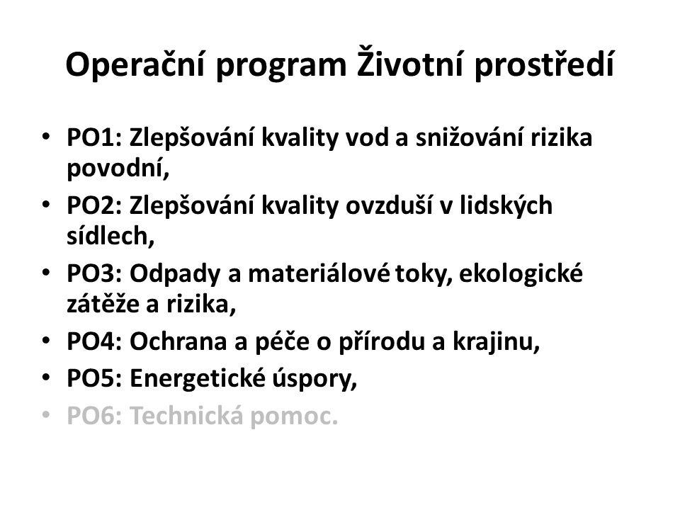 Operační program Životní prostředí PO1: Zlepšování kvality vod a snižování rizika povodní, PO2: Zlepšování kvality ovzduší v lidských sídlech, PO3: Od