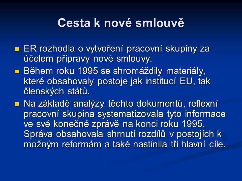 Cesta k nové smlouvě 3 hlavní cíle: 3 hlavní cíle: Sblížení EU a občanů Sblížení EU a občanů Lepší fungování EU a příprava na rozšiřování Lepší fungování EU a příprava na rozšiřování Posílit pozici EU na mezinárodním poli Posílit pozici EU na mezinárodním poli