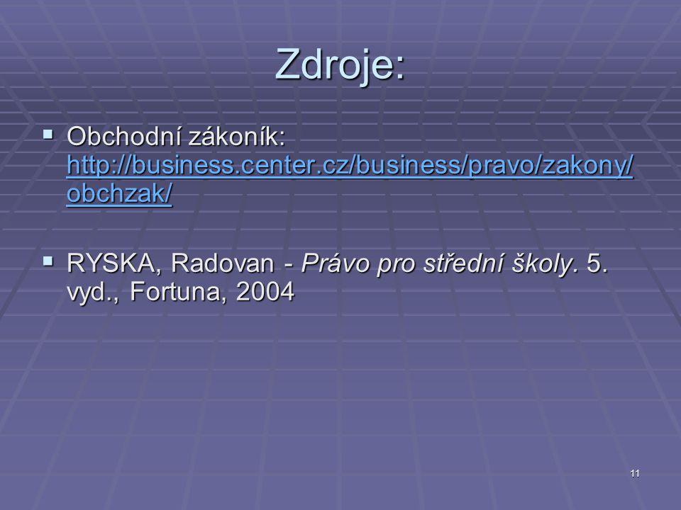 11 Zdroje:  Obchodní zákoník: http://business.center.cz/business/pravo/zakony/ obchzak/ http://business.center.cz/business/pravo/zakony/ obchzak/ http://business.center.cz/business/pravo/zakony/ obchzak/  RYSKA, Radovan - Právo pro střední školy.