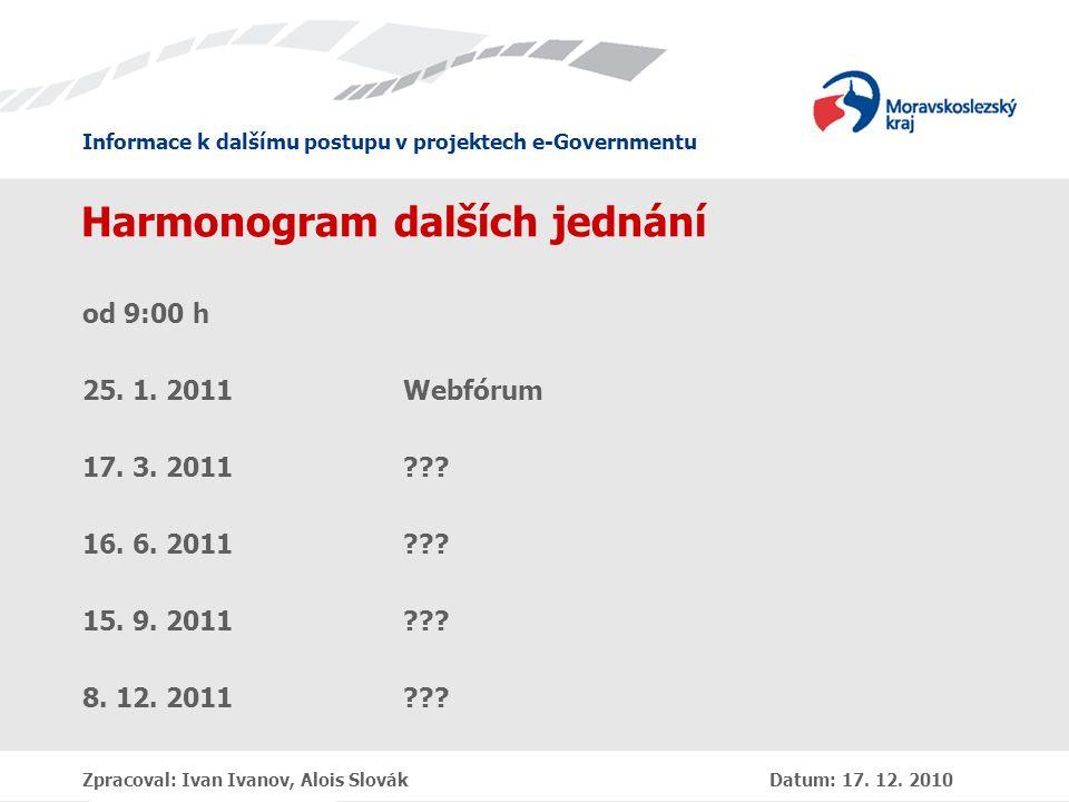 Informace k dalšímu postupu v projektech e-Governmentu Zpracoval: Ivan Ivanov, Alois Slovák Datum: 17.