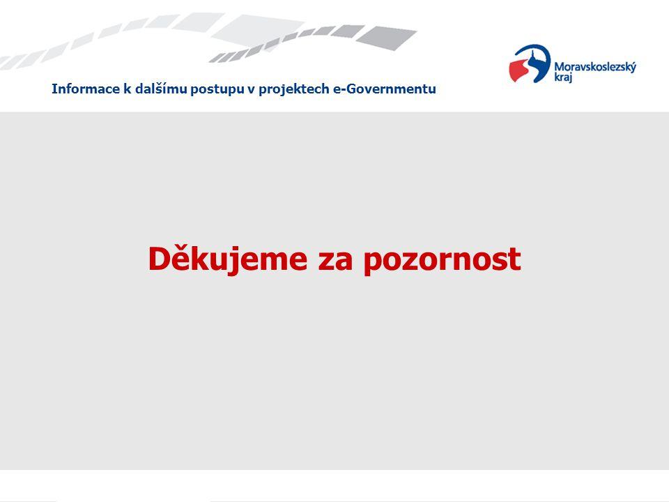 Informace k dalšímu postupu v projektech e-Governmentu Děkujeme za pozornost