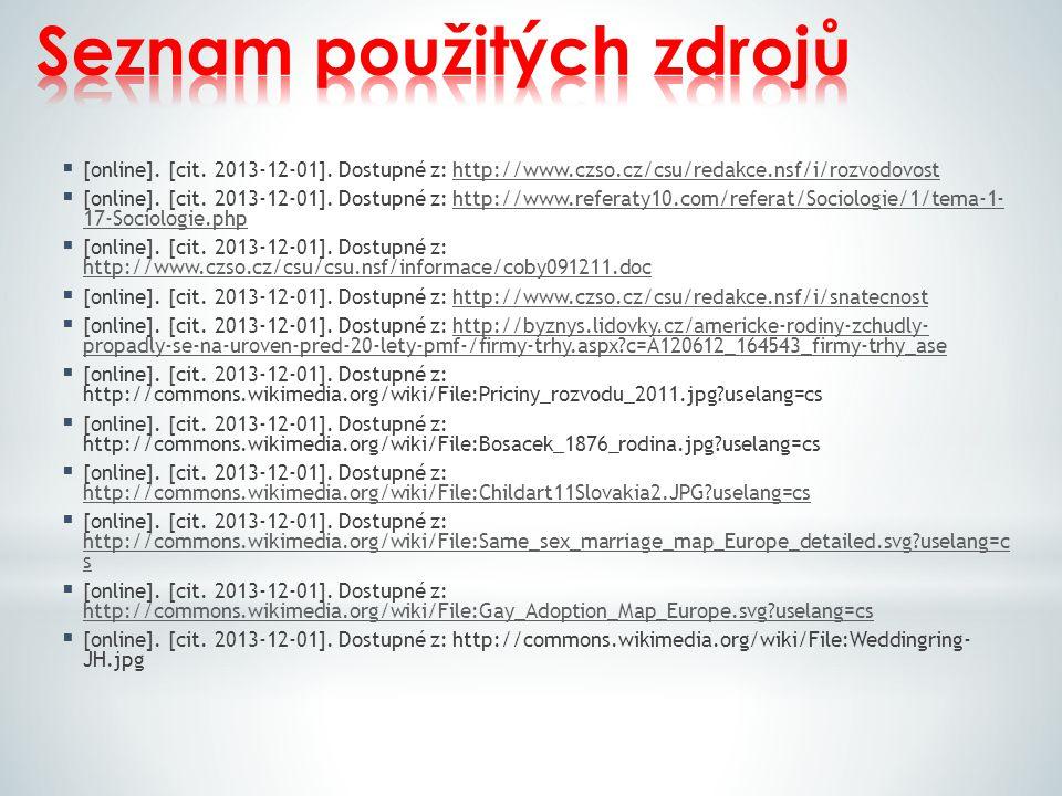  [online]. [cit. 2013-12-01]. Dostupné z: http://www.czso.cz/csu/redakce.nsf/i/rozvodovosthttp://www.czso.cz/csu/redakce.nsf/i/rozvodovost  [online]