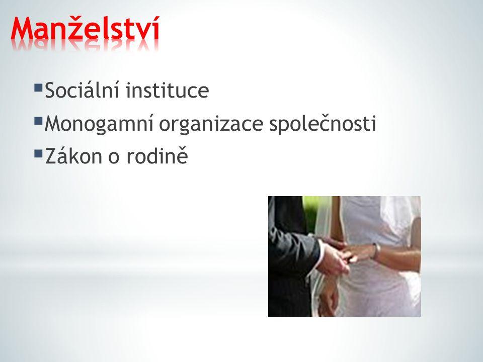  Sociální instituce  Monogamní organizace společnosti  Zákon o rodině