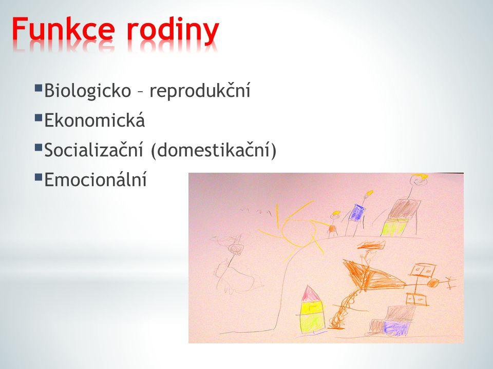 Biologicko – reprodukční  Ekonomická  Socializační (domestikační)  Emocionální