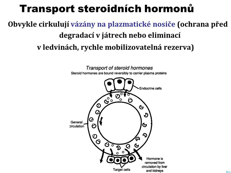Transport steroidních hormonů Obvykle cirkulují vázány na plazmatické nosiče (ochrana před degradací v játrech nebo eliminací v ledvinách, rychle mobi