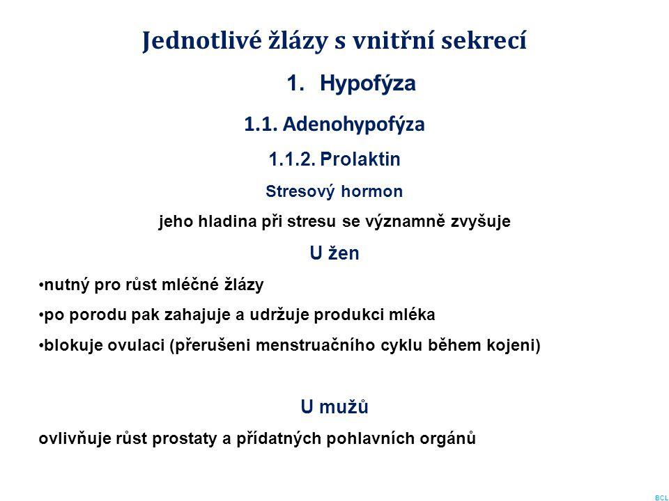 Jednotlivé žlázy s vnitřní sekrecí 1.Hypofýza 1.1. Adenohypofýza 1.1.2. Prolaktin Stresový hormon jeho hladina při stresu se významně zvyšuje U žen nu