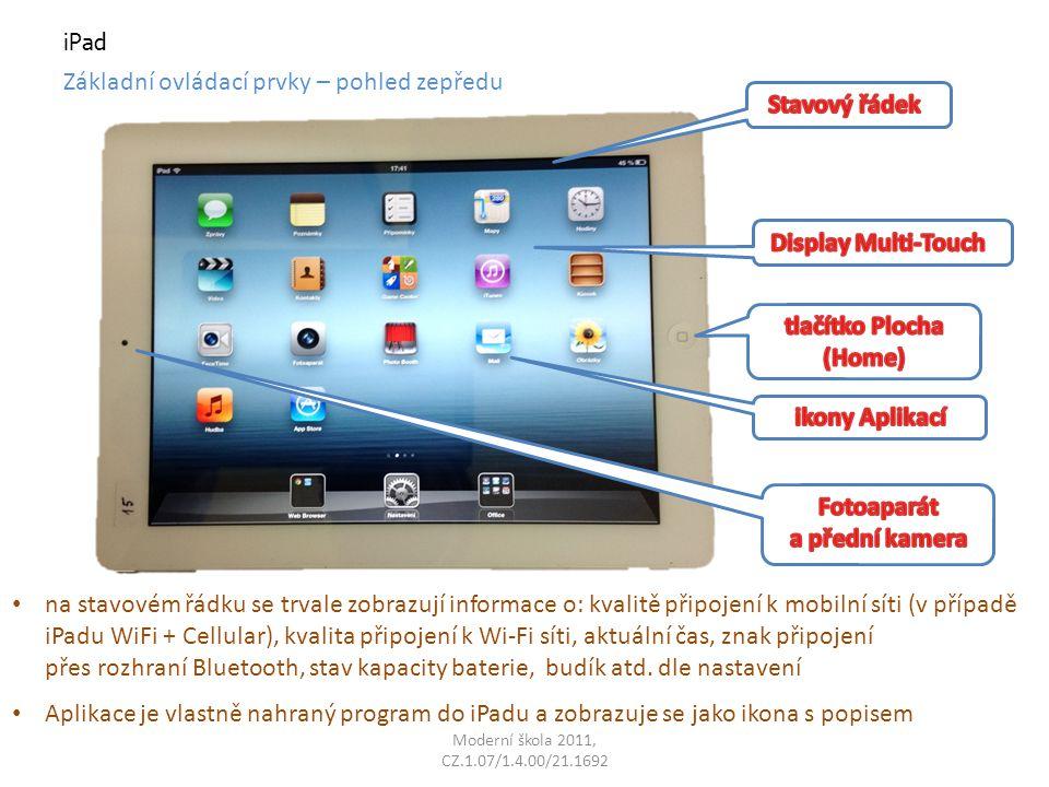 Aplikace je vlastně nahraný program do iPadu a zobrazuje se jako ikona s popisem iPad Základní ovládací prvky – pohled zepředu na stavovém řádku se trvale zobrazují informace o: kvalitě připojení k mobilní síti (v případě iPadu WiFi + Cellular), kvalita připojení k Wi-Fi síti, aktuální čas, znak připojení přes rozhraní Bluetooth, stav kapacity baterie, budík atd.