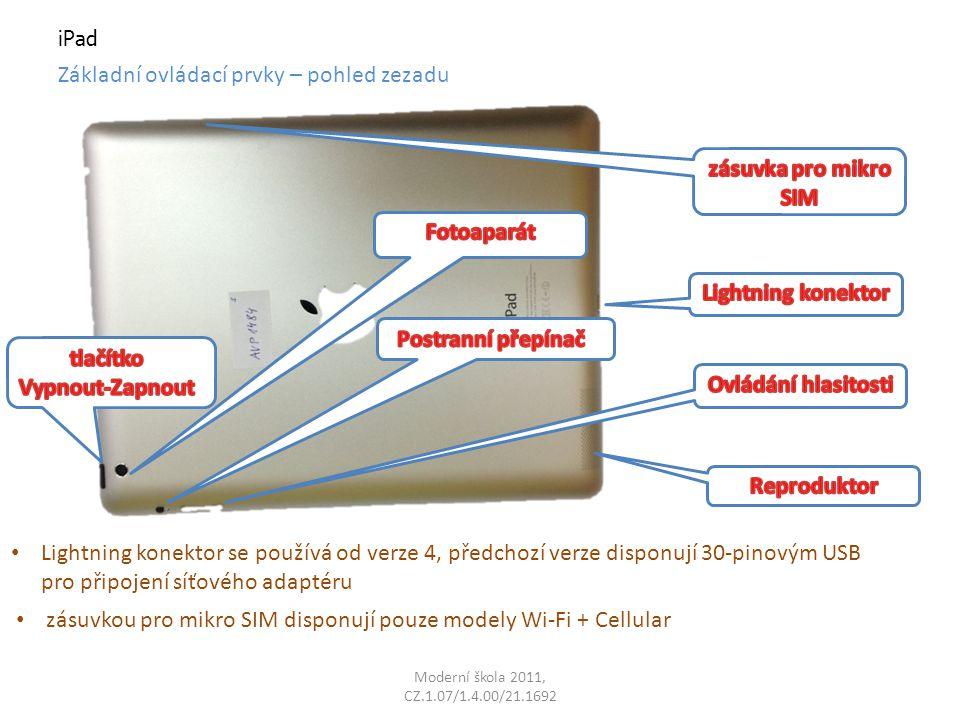 Moderní škola 2011, CZ.1.07/1.4.00/21.1692 iPad Základní ovládací prvky – pohled zezadu Lightning konektor se používá od verze 4, předchozí verze disponují 30-pinovým USB pro připojení síťového adaptéru zásuvkou pro mikro SIM disponují pouze modely Wi-Fi + Cellular