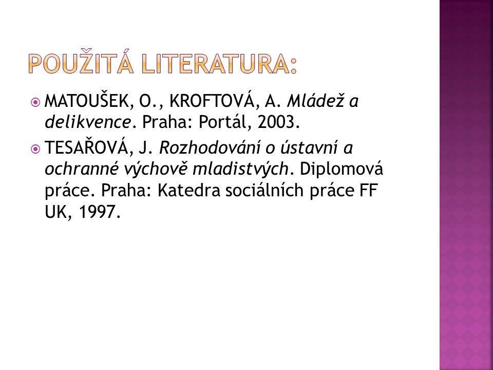  MATOUŠEK, O., KROFTOVÁ, A. Mládež a delikvence. Praha: Portál, 2003.  TESAŘOVÁ, J. Rozhodování o ústavní a ochranné výchově mladistvých. Diplomová