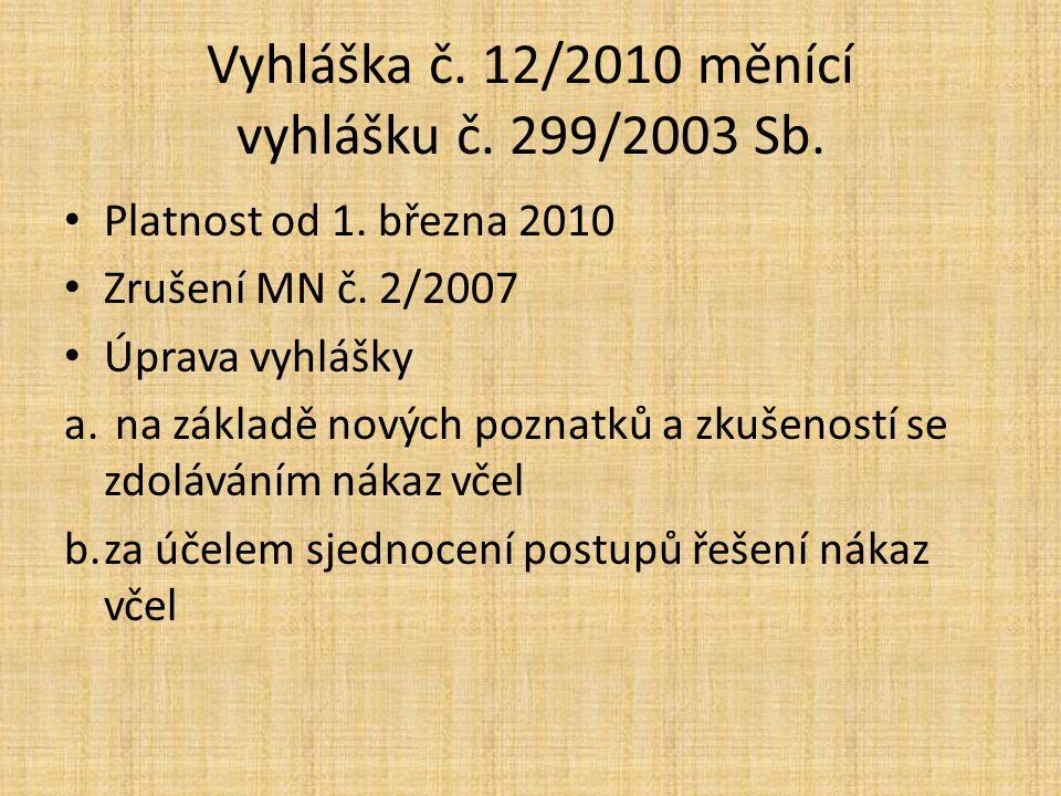 Vyhláška č.12/2010 měnící vyhlášku č. 299/2003 Sb.