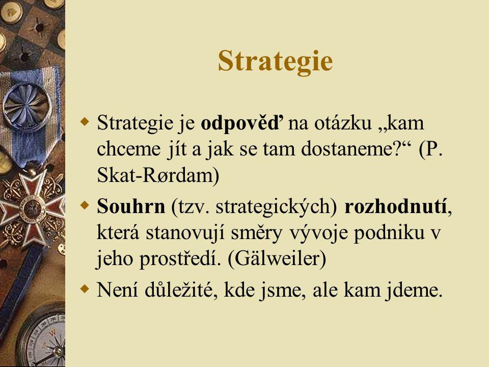 """Strategie  Strategie je odpověď na otázku """"kam chceme jít a jak se tam dostaneme?"""" (P. Skat-Rørdam)  Souhrn (tzv. strategických) rozhodnutí, která s"""
