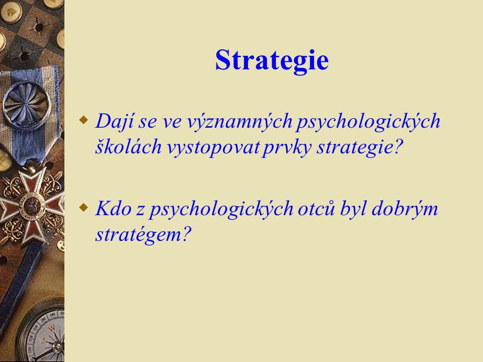 Strategie  Dají se ve významných psychologických školách vystopovat prvky strategie?  Kdo z psychologických otců byl dobrým stratégem?