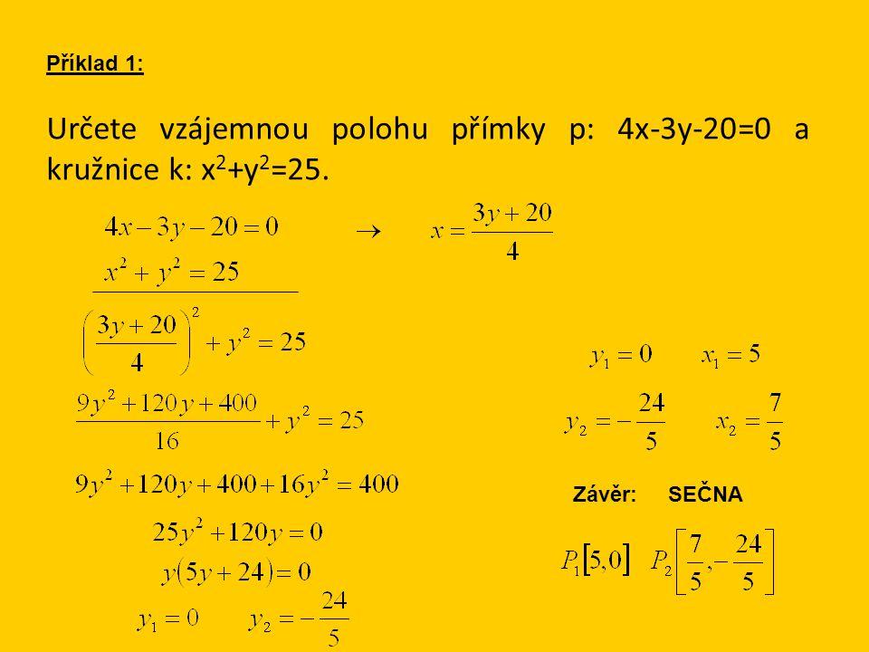 Určete vzájemnou polohu přímky p: 4x-3y-20=0 a kružnice k: x 2 +y 2 =25. Příklad 1: Závěr: SEČNA