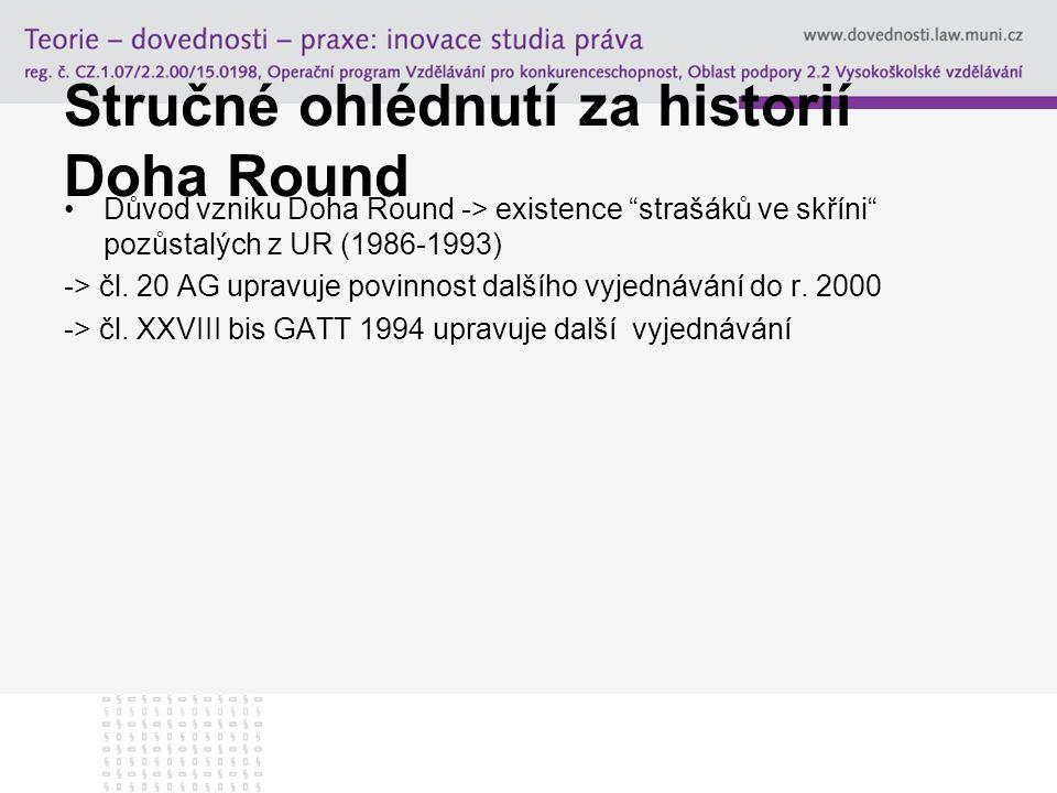 """Stručné ohlédnutí za historií Doha Round Důvod vzniku Doha Round -> existence """"strašáků ve skříni"""" pozůstalých z UR (1986-1993) -> čl. 20 AG upravuje"""