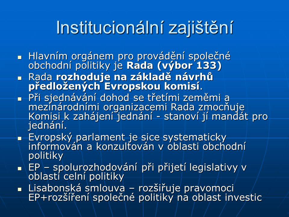 Institucionální zajištění Hlavním orgánem pro provádění společné obchodní politiky je Rada (výbor 133) Hlavním orgánem pro provádění společné obchodní