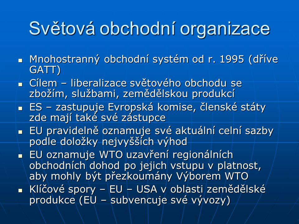 Bilaterální obchodní vztahy EU Dohoda s ESVO-1973 Dohoda s ESVO-1973 Dohoda o Evropském hospodářském prostoru se státy ESVO– 1992 (vstup v platnost 1994) Dohoda o Evropském hospodářském prostoru se státy ESVO– 1992 (vstup v platnost 1994) Bilaterální dohody se Švýcarskem (zemědělství, pracovní síly, doprava, veřejné zakázky) Bilaterální dohody se Švýcarskem (zemědělství, pracovní síly, doprava, veřejné zakázky) Evropské dohody – asociační dohody – vytvoření zóny volného obchodu (není zárukou plného členství (ČR 1993, Pol 1991, Tur 1963) Evropské dohody – asociační dohody – vytvoření zóny volného obchodu (není zárukou plného členství (ČR 1993, Pol 1991, Tur 1963) EU vytváří s Tureckem celní unii od 1.1.