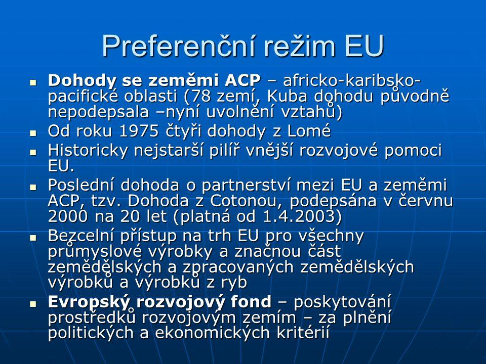 Preferenční režim EU Dohody se zeměmi ACP – africko-karibsko- pacifické oblasti (78 zemí, Kuba dohodu původně nepodepsala –nyní uvolnění vztahů) Dohod