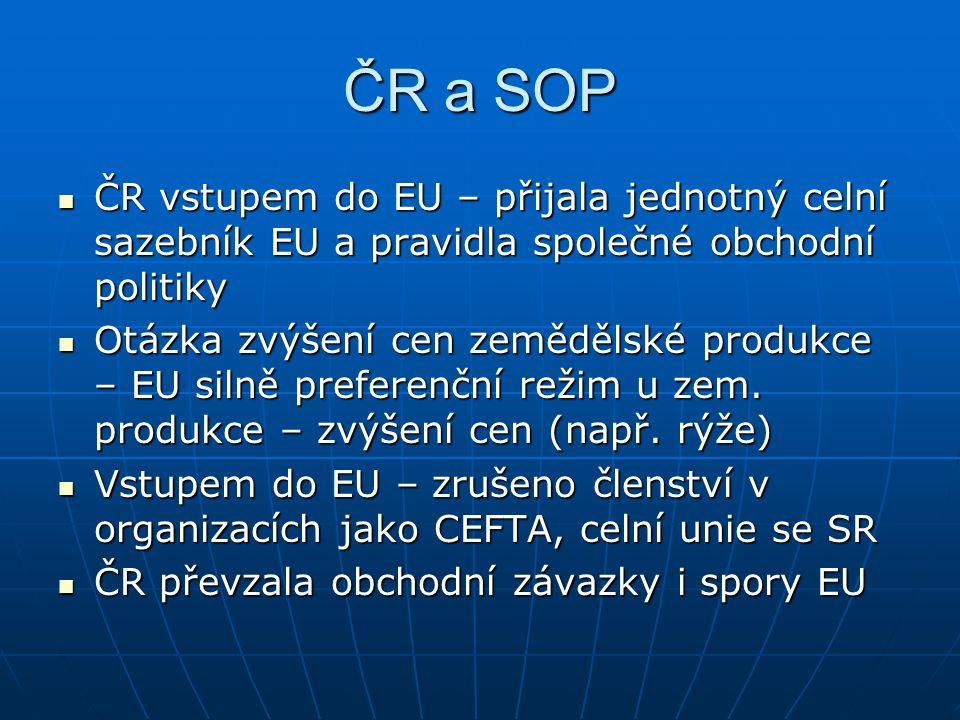 ČR a SOP ČR vstupem do EU – přijala jednotný celní sazebník EU a pravidla společné obchodní politiky ČR vstupem do EU – přijala jednotný celní sazební
