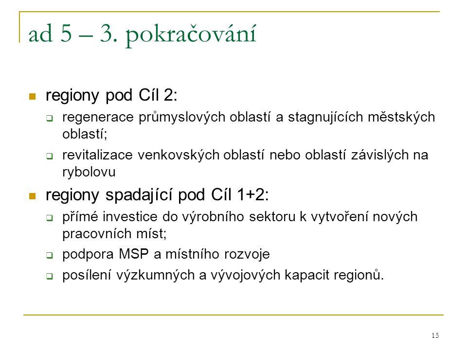 15 ad 5 – 3. pokračování regiony pod Cíl 2:  regenerace průmyslových oblastí a stagnujících městských oblastí;  revitalizace venkovských oblastí neb