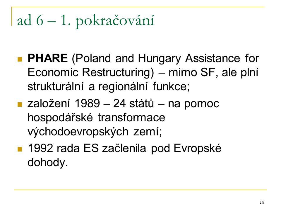 18 ad 6 – 1. pokračování PHARE (Poland and Hungary Assistance for Economic Restructuring) – mimo SF, ale plní strukturální a regionální funkce; založe