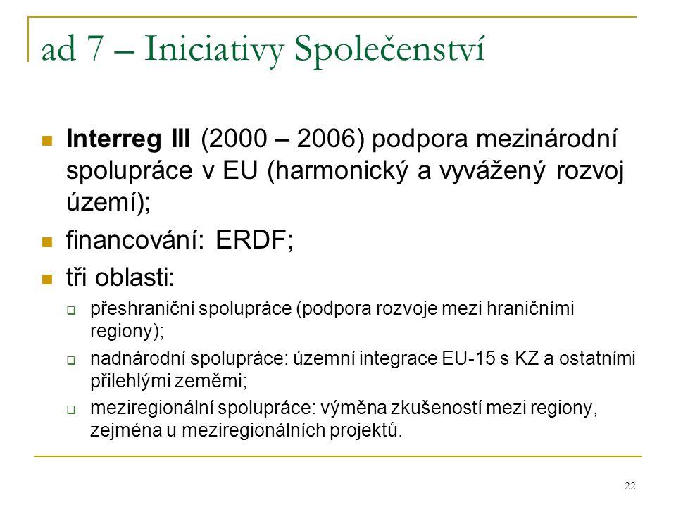 22 ad 7 – Iniciativy Společenství Interreg III (2000 – 2006) podpora mezinárodní spolupráce v EU (harmonický a vyvážený rozvoj území); financování: ER