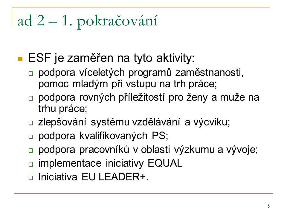 5 ad 2 – 1. pokračování ESF je zaměřen na tyto aktivity:  podpora víceletých programů zaměstnanosti, pomoc mladým při vstupu na trh práce;  podpora