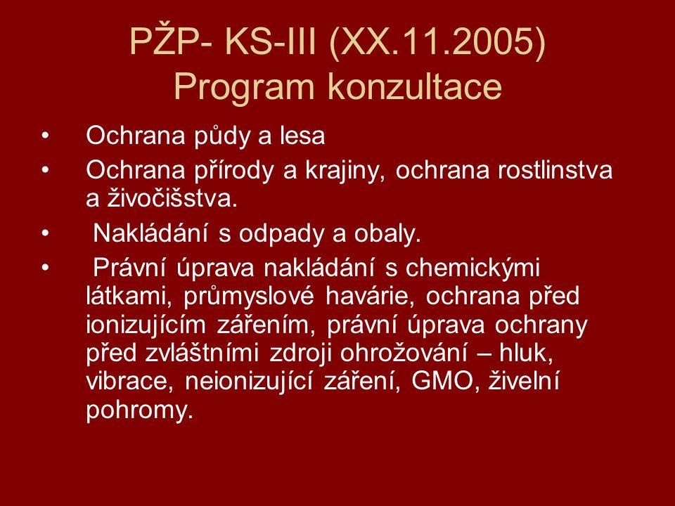 PŽP- KS-III (XX.11.2005) Program konzultace Ochrana půdy a lesa Ochrana přírody a krajiny, ochrana rostlinstva a živočišstva.