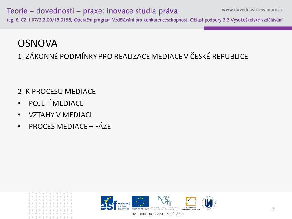 OSNOVA 1. ZÁKONNÉ PODMÍNKY PRO REALIZACE MEDIACE V ČESKÉ REPUBLICE 2.