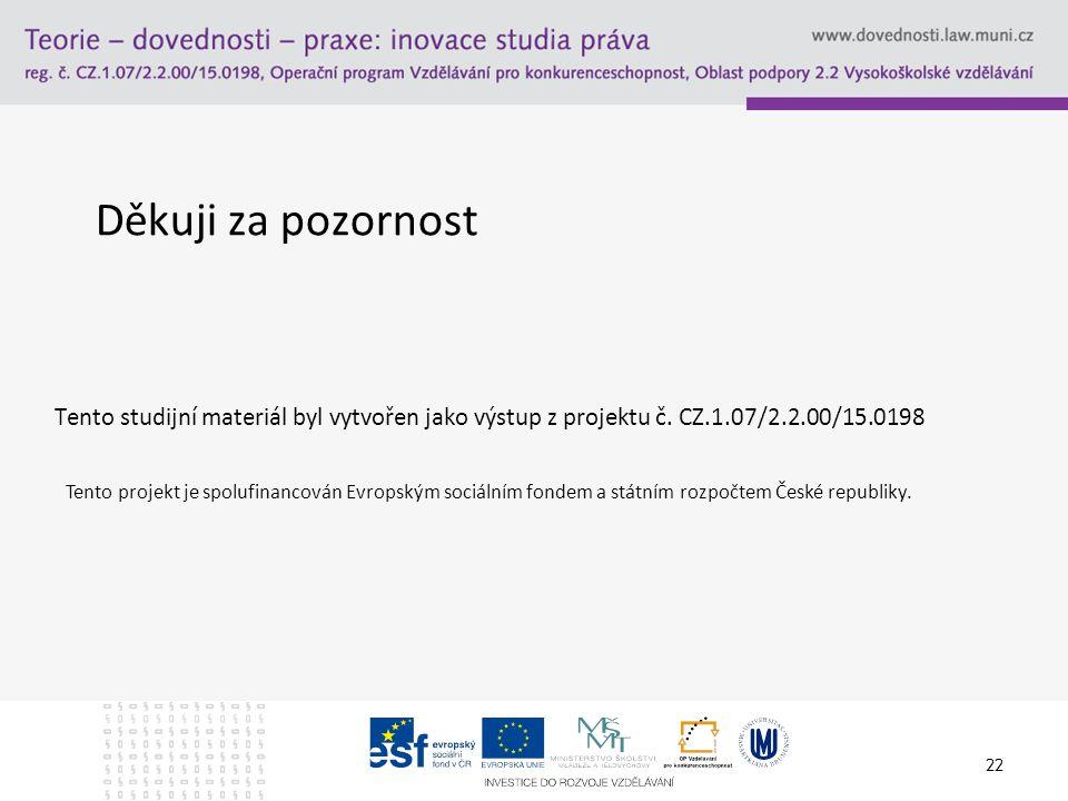 22 Děkuji za pozornost Tento studijní materiál byl vytvořen jako výstup z projektu č. CZ.1.07/2.2.00/15.0198 Tento projekt je spolufinancován Evropský